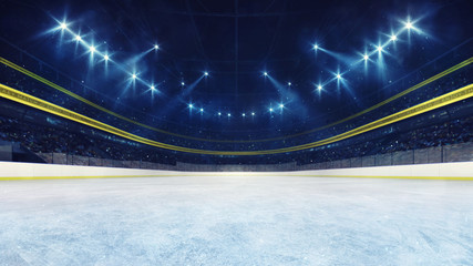 Empty ice rink and illuminated stadium with fans, front playground view. Professional ice hockey sport 3D render illustration background.