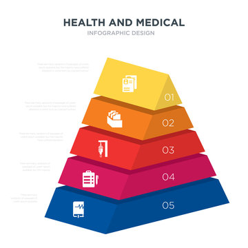 health and medical concept 3d pyramid chart infographics design included medical book, medical checklist, drip, file, history, _icon6_, _icon7_, _icon8_ icons