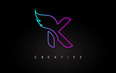 Neon K Letter Logo Icon Design with Creative Wing in Blue Purple Magenta Colors