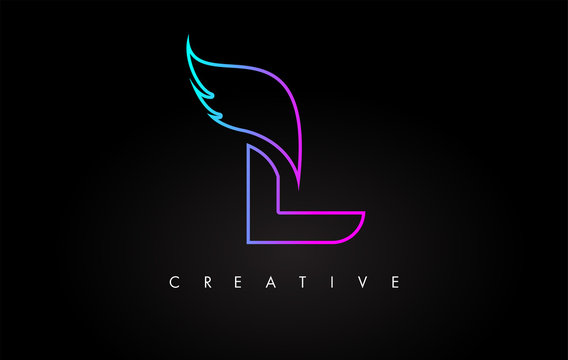 Neon L Letter Logo Icon Design with Creative Wing in Blue Purple Magenta Colors