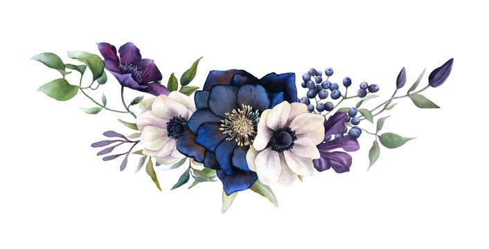 Picturesque arrangement of dark hellebores, anemones, berries and clematises hand drawn in watercolor isolated on white background.Watercolor illustration.Ideal for creating invitations, wedding cards