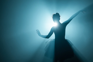 Ballerina in black tutu dress dancing on stage with magic blue light and smoke. Silhouette of young...