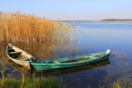 wooden boats on lake water