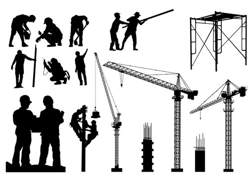 Construction silhouette vector background.