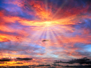Morning Glory Cloudy Sunrise Sky in Blue, Red, Orange, Yellow with Sun Rays