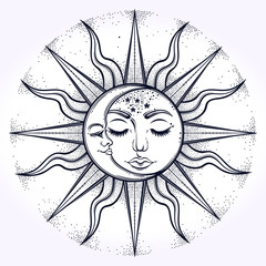Bohemian hand drawn sun and moon phase. Vector illustration for coloring book, t-shirts design,fabric design, paper , textiles, background. Religion y, spirituality, occultism, magic, sacred geometry.