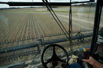 Paul Hodgen harvests soybeans from a field on his farm in Roachdale