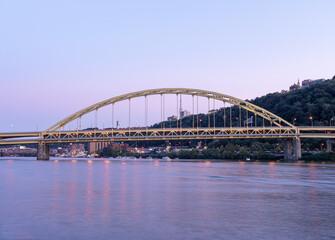 Fort Pitt Bridge and Monongahela River in Pittsburgh in Pennsylvania