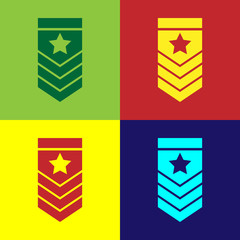 Color Chevron icon isolated on color background. Military badge sign. Vector Illustration