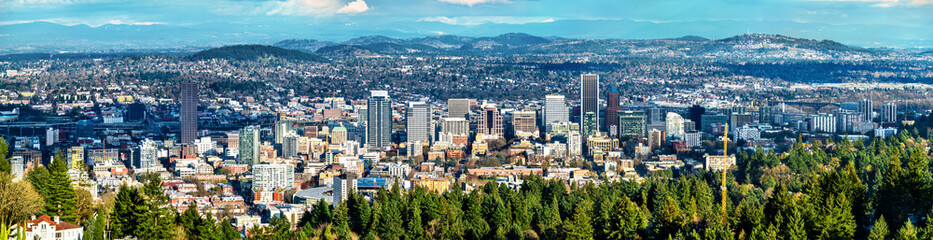 Panorama of Portland downtown in Oregon Fototapete