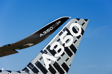Airbus a350-900 XWB View of the tail and wingtips sharklet. Russia, Moscow region Zhukovsky, airport Ramenskoe. Aviasalon MAKS 2019. 29 august 2019.