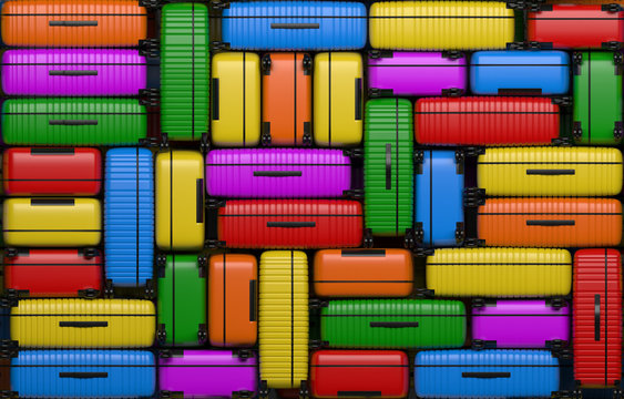Many identical bright multi-colored suitcases on wheels stacked on top of each other. Travel bags are in a heap. 3D rendering illustration.