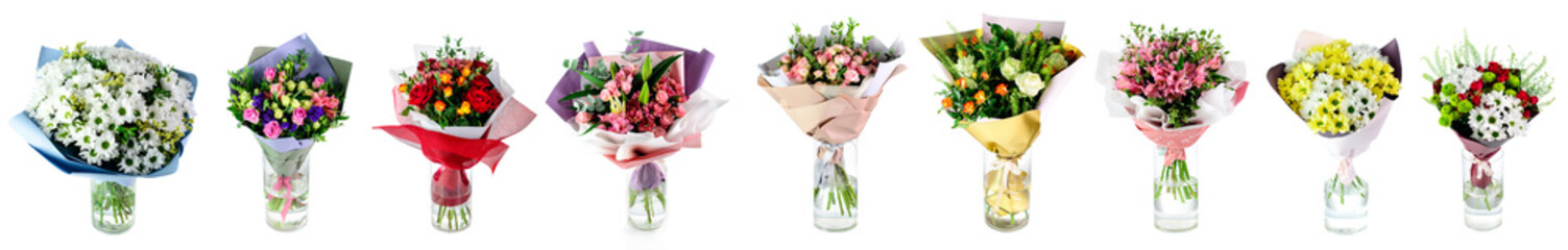 set of multi-colored bouquets of flowers in a glass vase isolated on white