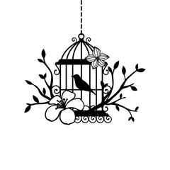 Foto op Aluminium Vogels in kooien hand drawn wedding birdcage collections