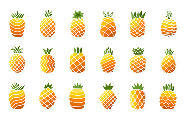 Set different hand drawn bright color icons of pineapple fruit with leaf isolated on white background. Sweet tropical fruit collection. Simple minimal flat style. Logo design. Vector illustration