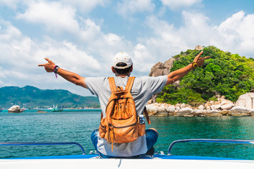 Man traveler relaxing on boat joy fun beautiful nature scenic landscape Koh Tao island, Water adventure travel Samui Thailand, Active Tourist on summer holiday vacation trips, Tourism destination Asia