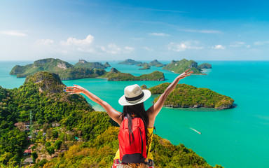 Backpack traveler woman on top group of island joy view beautiful nature scenic landscape, Adventure lifestyle landmark tourist travel Samui Thailand summer holiday vacation, Tourism destination Asia