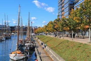 maritime flair at the Germania harbor Kiel in fall Fototapete