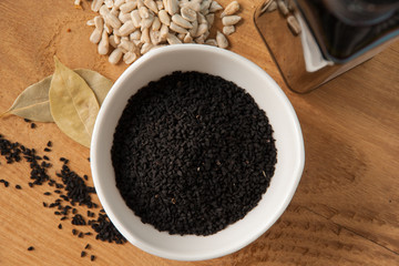 Czarne ziarna czarnuszka kumin