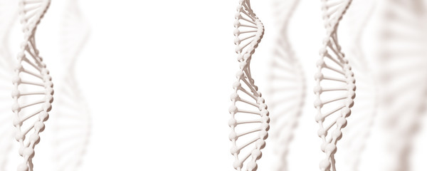 White DNA structures over white background.