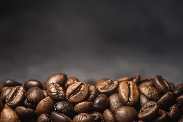 aroma coffee beans on burlap background for your text