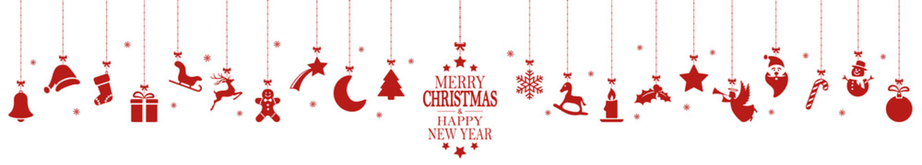 Foto op Plexiglas Bol hanging christmas icons and new year greetings