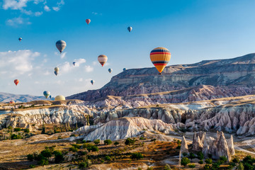 Photo sur Aluminium Montgolfière / Dirigeable Colorful hot air balloons flying over the valley at Cappadocia