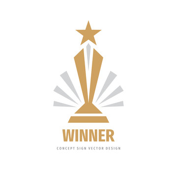 Award winner cup - vector logo template concept illustration in flat style. Star with rays and abstract shapes. Creative sign. Design element.
