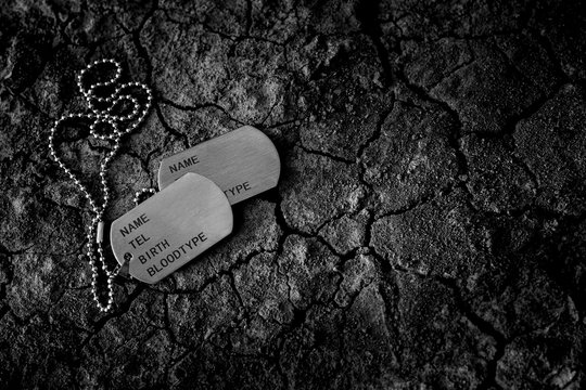 Blank military dog tags on cracked soil floor. - Memories and sacrifices concept.