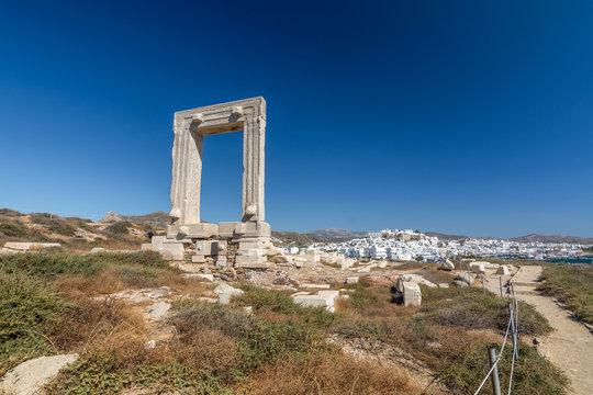 Portara and Apollo temple Ruins in Chora, Naxos - Cyclades Greece