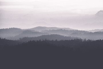 abstract black and white landscape of mountains