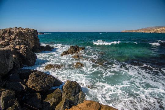 Cliffs and rough seas in Naxos, Greece