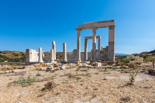 Sangri, Naxos / Greece - July 13, 2019: Demeter's temple and ruins at Sangri village, Naxos, Greece