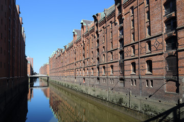 Canal and warehouses in Hamburg, Germany