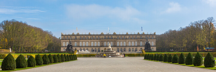 HERRENCHIEMSEE, BAVARIA / GERMANY - Oct 23, 2019: Front view on Schloss Neues Herrenchiemsee (new palace / castle). Construction started in 1878, Initiated by King Ludwig II. Example of early baroque. Fototapete