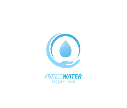 Protection water sign logo