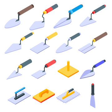 Trowel icons set. Isometric set of trowel vector icons for web design isolated on white background