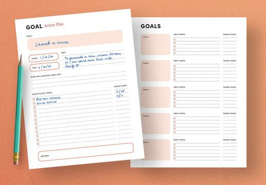 Goals Planner Worksheet Layout