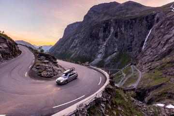 Trollstigen, Romsdalen, Norway: A car in one of the many serpentines.