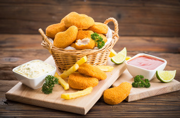 Homemade chicken nuggets in the basket Wall mural
