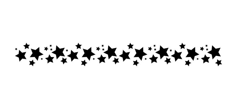 Star line divider silhouette. Simple vector illustration isolated on white background. Decorative design element, border, pattern, symbol.
