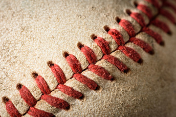 Closeup of a dirty baseball