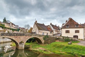Stone bridge in Semur-en-Auxois, France