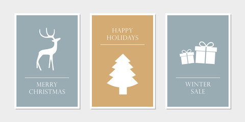 set of christmas greeting cards with deer tree and gift vector illustration EPS10