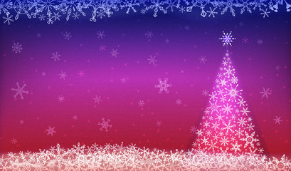 Christmas background in red-blue color with christmas elements