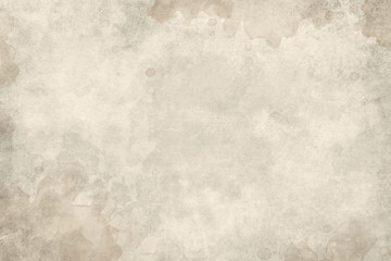 Wall Mural - Old brown paper parchment background design with distressed vintage watercolor or coffee stains and ink spatter and white faded shabby center, elegant antique beige color