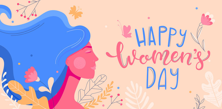 Card for International Women's Day. Banner, flyer for March 8 with woman face and decorating by flowers. Congratulating and wishing happy holiday placard for newsletter, brochures.Vector illustration.