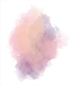 Abstract colorful watercolor background. Paint splash, blob isolated on white backdrop. Orange, purple and pink ombre. Vector illustration eps 8. Template design.