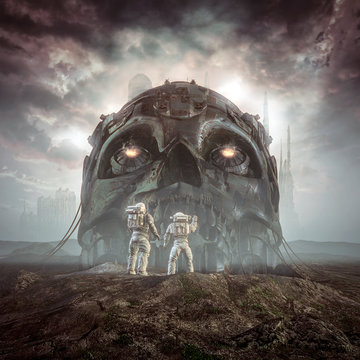 Giants of yesterday / 3D illustration of science fiction scene showing astronauts discovering ancient giant robot skull in the desert outside alien city