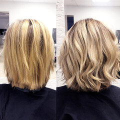 Spoed Fotobehang Kapsalon before and after hair color yellow blond to beautiful light blond